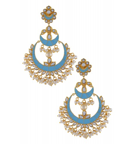 Gold Plated Blue Enamelled Floral Pearl Earrings