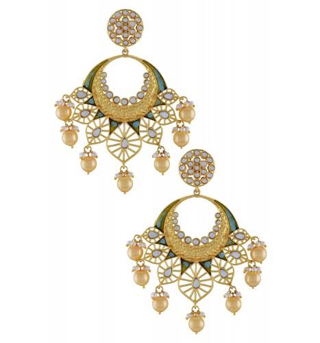 Gold Plated Enamelled Aqua Jaali Drop Earrings