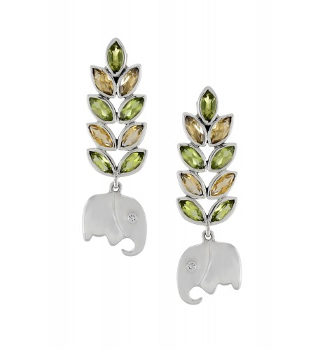 Silver Citrine Peridot Leaf Elephant Earrings