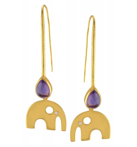 Silver Gold Plated Textured Amethyst Elephant Drop Earrings