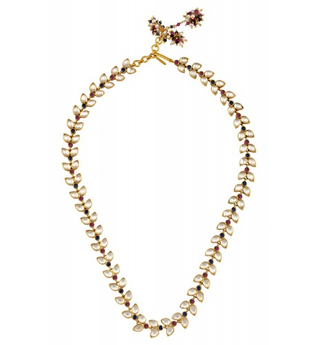Silver Gold Plated Multi Pear Leafy Crystal Necklace