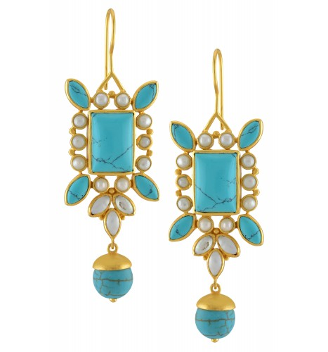 Silver Gold Plated Pearl Floral Turquoise Drop Earrings