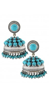 Silver Turquoise Bead Droplet Jhumka