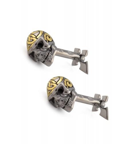 Silver Dual Tone Skull Spike Cufflinks