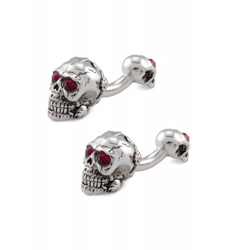 Silver Red Eye Rose Dual Skull Cufflinks