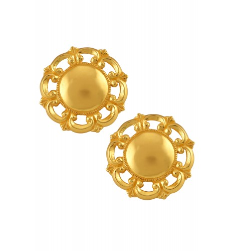 Silver Gold Plated Round Flower Motif Earrings