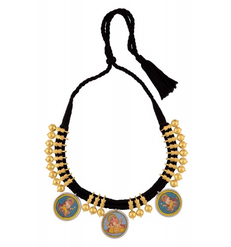 Silver Gold Plated Ganpati Floral Bead Thread Painting Necklace