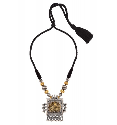 Silver Two Tone Vinayaka Floral Ghungroo Thread Necklace