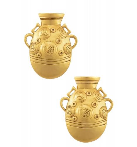 Gold Plated Tribal Pot Earrings