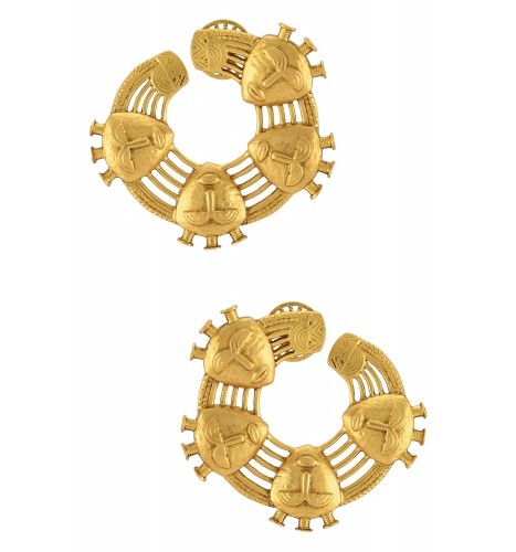 Gold Plated Circle of Mask Earrings