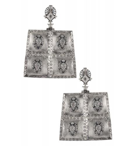Silver Plated Turtle Folk Tale Earrings
