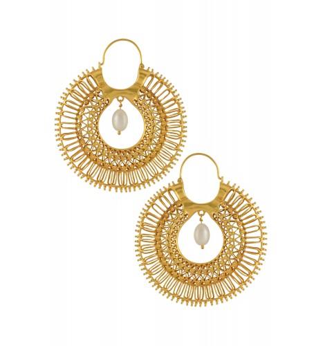 Silver Gold Plated Pearl Bead Jaali Hoop Earrings