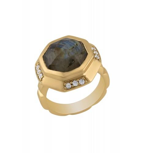 Gold Plated Labradorite Decagon Ring
