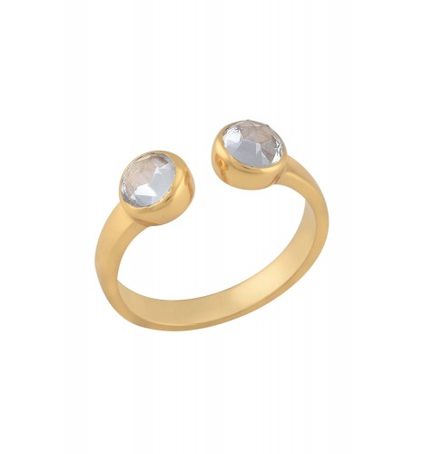 Gold Plated Double White Glass Ring