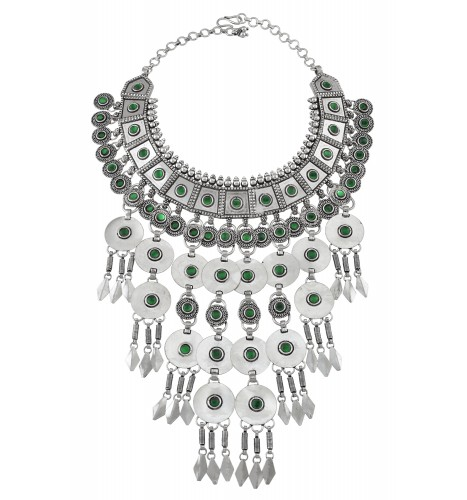 Silver Green Glass Disc Kite Drop Interlinked Necklace