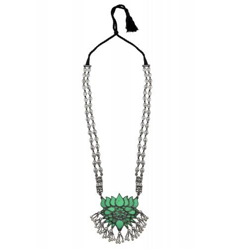 Silver Oxidised Lotus Green Dholki Bead Necklace