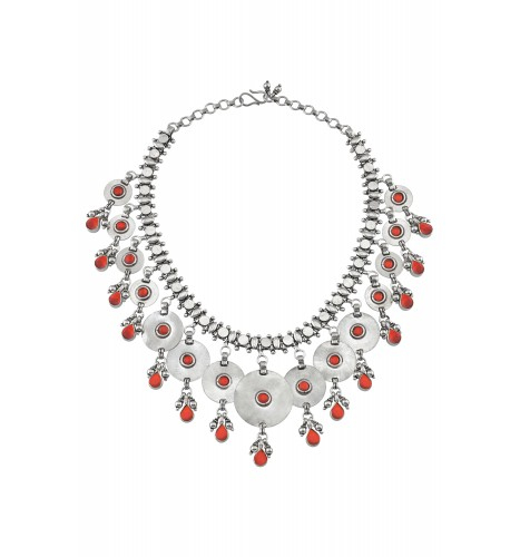 Silver Interlinked Disc Pear Drop Red Glass Necklace