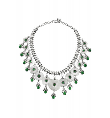 Silver Green Glass Disc Pear Drop Necklace