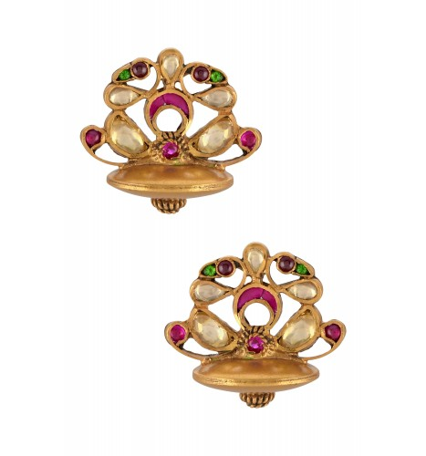 Silver Gold Plated Pink White Glass Peacock Ear Studs