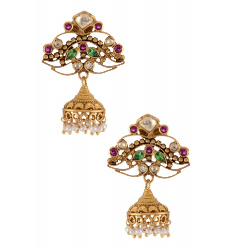 Silver Gold Plated Multi Colored Glass Jhumki Pearl Drop Earrings