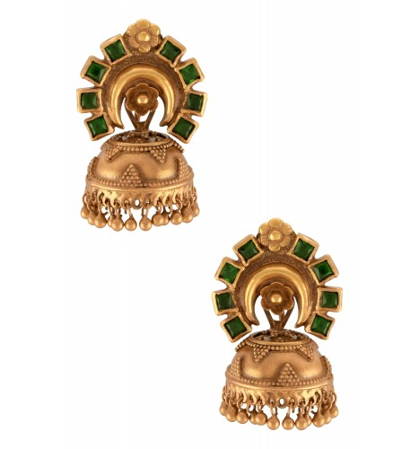 Silver Gold Plated Green Floral Jhumki Earrings