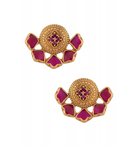 Silver Gold Plated Pink Glass Lotus Ear Studs