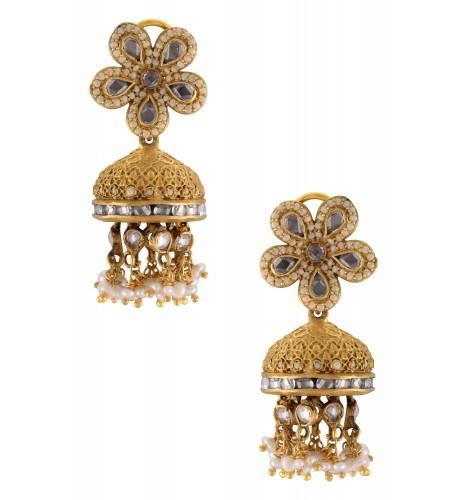 Silver Gold Plated Flower Pearl Cluster Jhumki Earrings