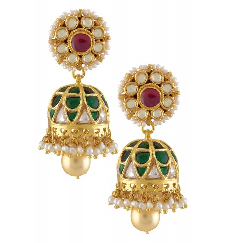 Silver Gold Plated Green Crystal Floral Jhumki