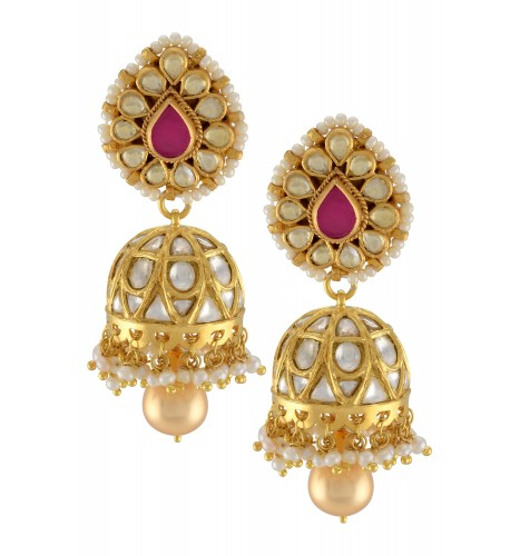 Silver Gold Plated Pear Glass Pearl Lined Jhumki