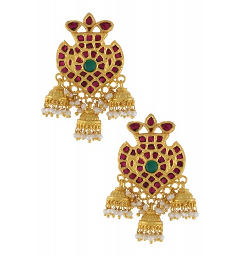 Silver Gold Plated Pink Glass Jhumki Droplet Earrings