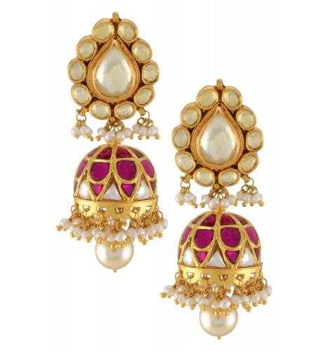 Silver Gold Plated Pear Glass Pearl Drop Jhumki