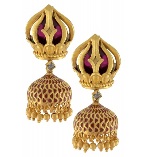 Silver Gold Plated Glass Enamel Crown Jhumki