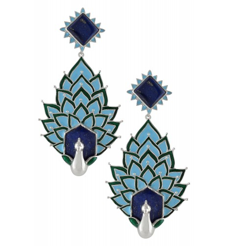 Silver Enamelled Peacock Lapis Earrings
