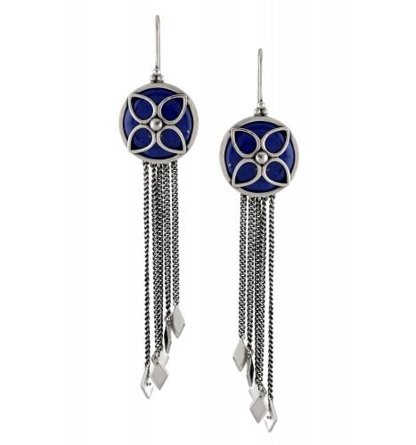Silver Floral Lapis Tassal Hanging Rhombus Earrings