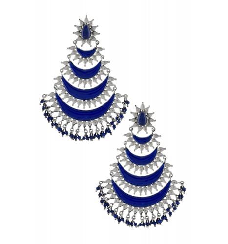 Silver Oxidised Crescent Enamelled Lapis Droplet Earrings
