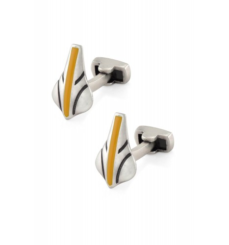 Yellow Enamel Line Cufflinks