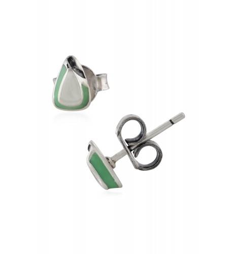 Green Enamel Boat Ear Studs