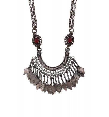 Silver Oxidised Floral Tassel Pendant Necklace