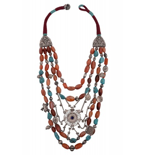 Silver Turquoise Agate Multistrand Thread Necklace
