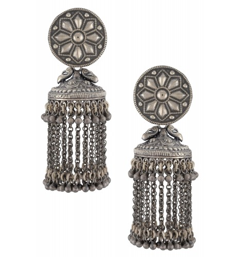 Silver Oxidised Floral Chain Tassel Jhumka Earrings