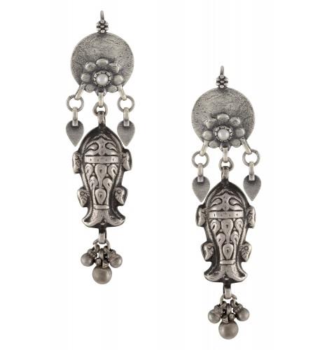 Silver Oxidised Pearl Flower Fish Hook Earrings