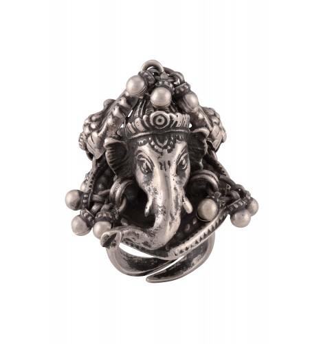 Silver Oxidised Ganesha Mayura Statement Ring