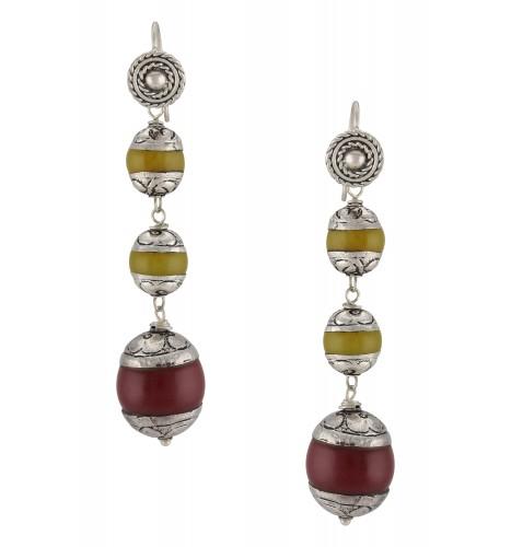 Silver Oxidised Agate Earrings