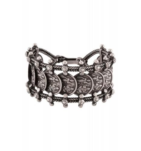Silver Oxidised Laxmi Ganesha Chain Bracelet