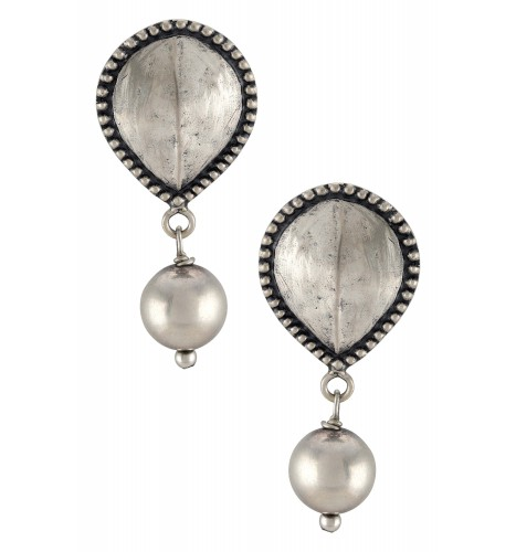 Silver Oxidised Rawa Textured Ball Drop Ear Studs