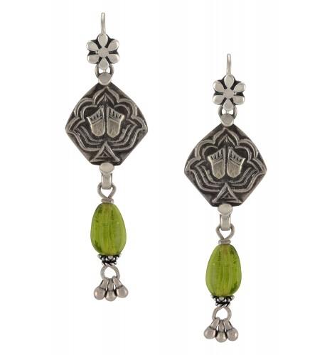 Silver Lotus Green Glass Hook Earrings