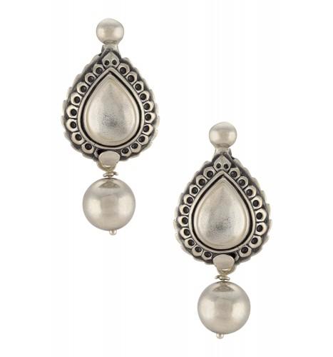 Silver Oxidised Pear Motif Ball Drop Ear Studs