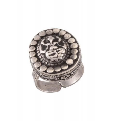 Silver Oxidised Ganesha Oval Ring