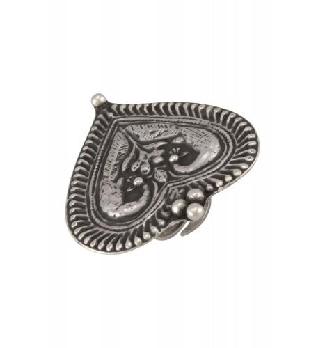 Silver Oxidised Mayura Paan Ring