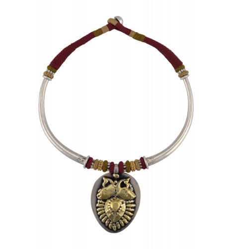 Silver Dual Tone Peacock Motif Thread Necklace